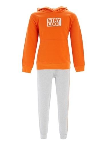 Defacto –Fit Erkek Çocuk Kapüşonlu Sweatshirt ve Jogger Eşofman Takım Oranj